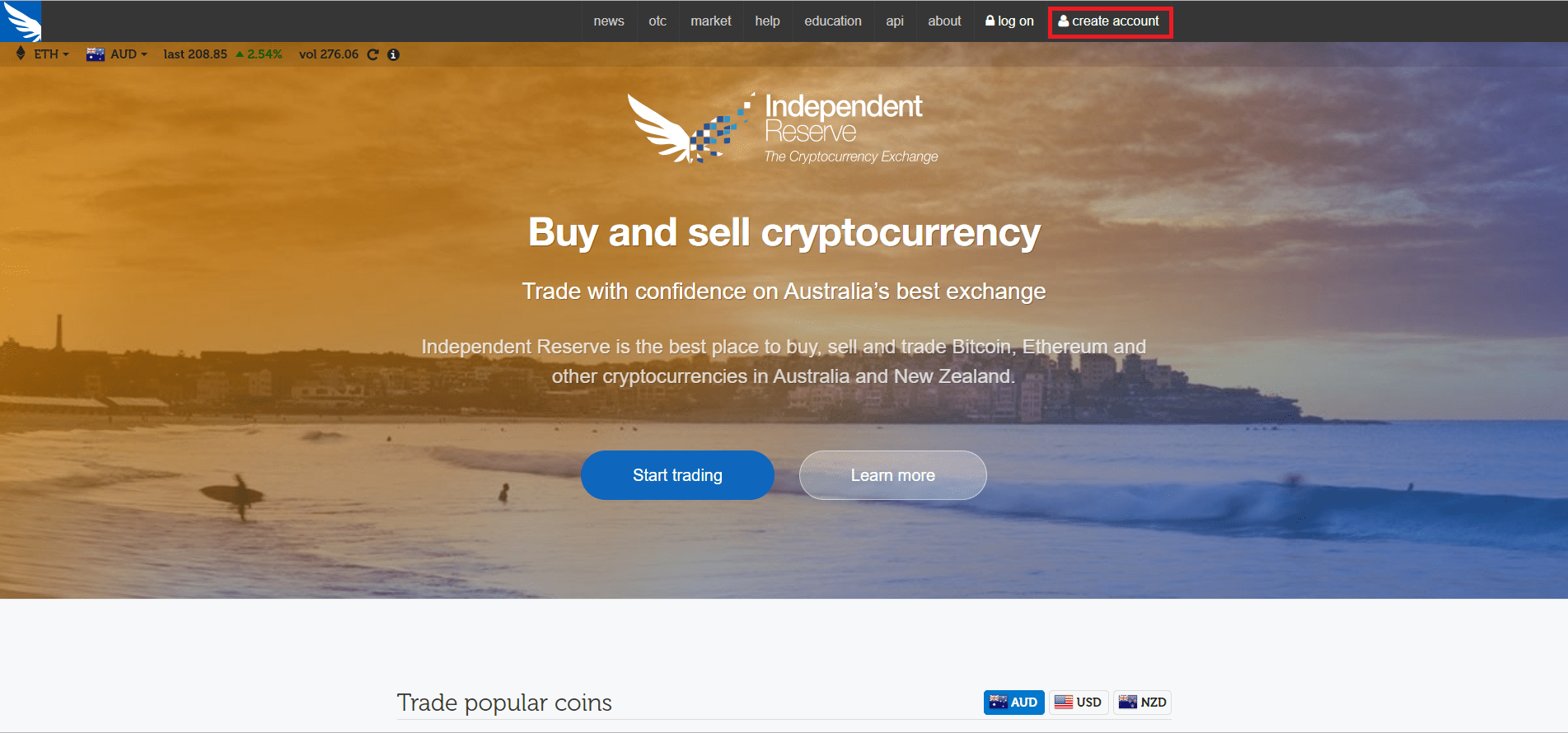 Create an account - Independent Reserve